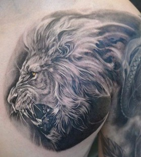 bright color animal tattoos lion