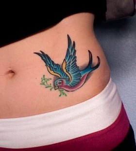 hip tattoo for girl bird