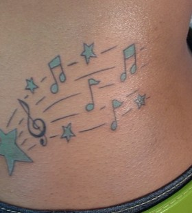 hip tattoo for girl music