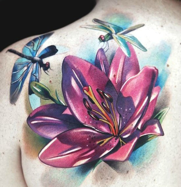 42 Watercolor Lily Tattoos Collection: Shoulder Tattoo Dragonfly