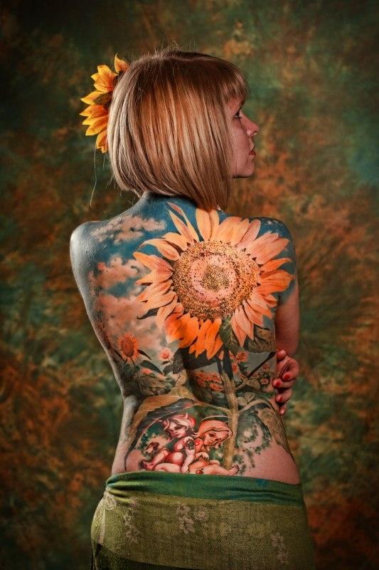 Full Back Sunflower Tattoo Tattoomagz