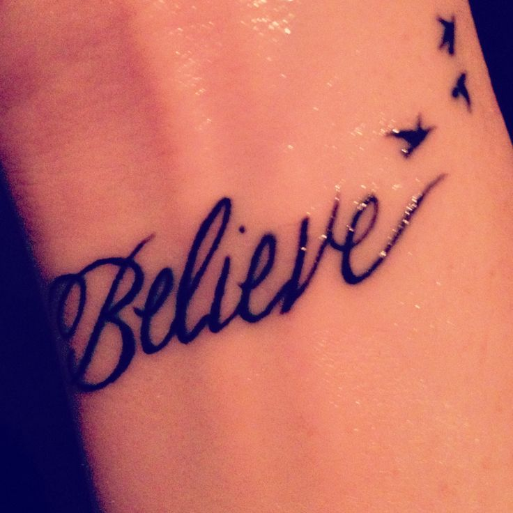Believe tattoo with hearts
