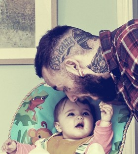 Pretty father and daughter tattoo