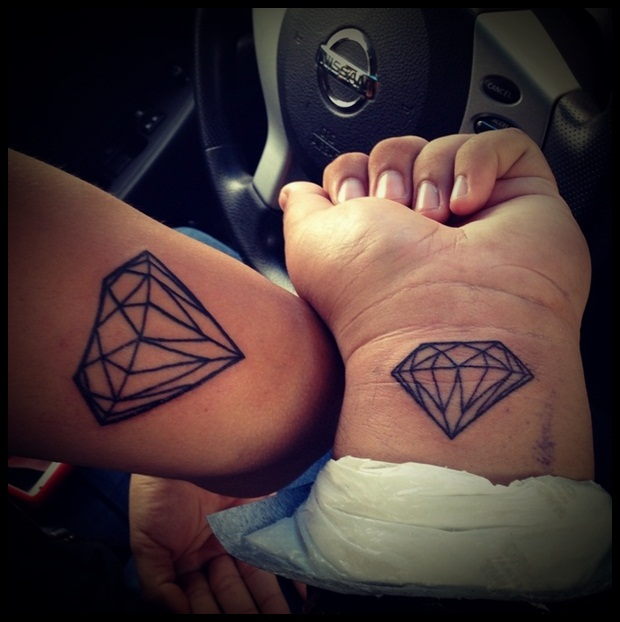 diamonds realistic tattoo