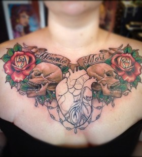 skull with rose and bee