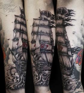 Amazing black ships tattoo