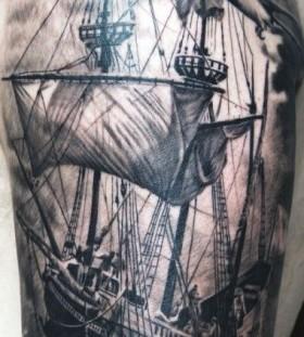 Black and grey ship tattoo