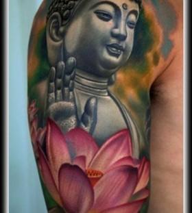 Budha and flower cool tattoo