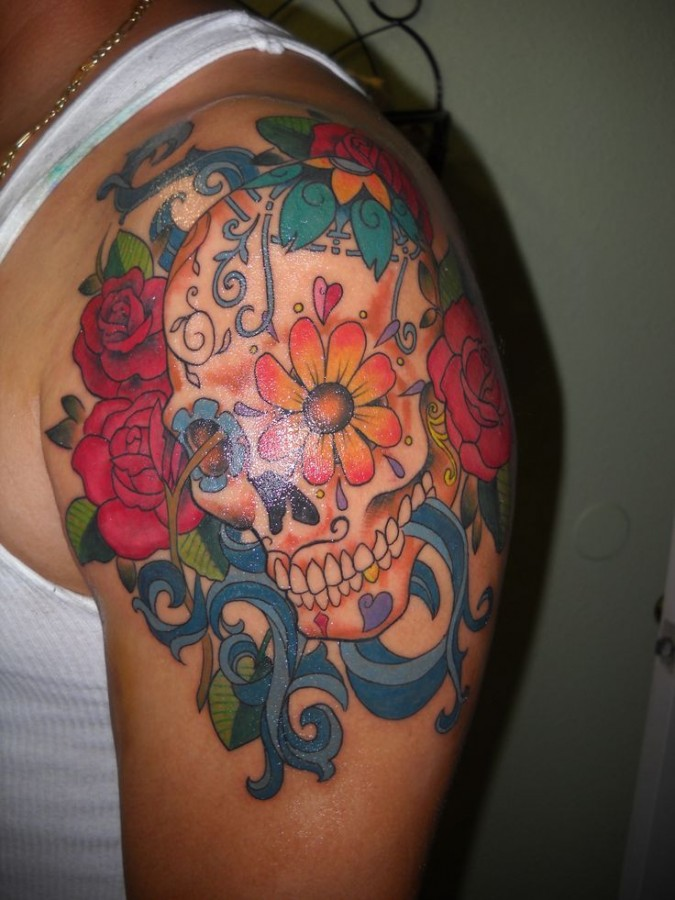 colorful flowers skull tattoo tattoomagz