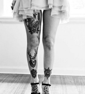 Girl with skirt legs tattoo