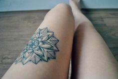 Mandala flower legs tattoo