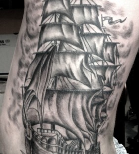Plack pirates ship tattoo
