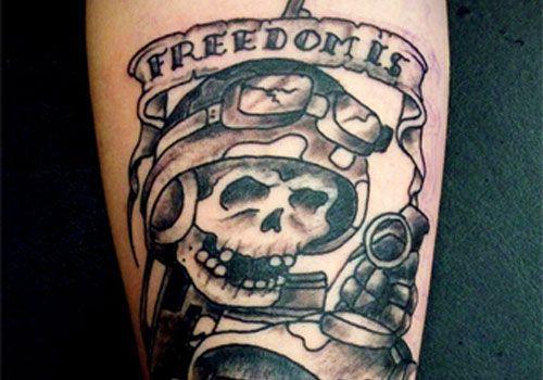 skull military style tattoos tattoomagz. Black Bedroom Furniture Sets. Home Design Ideas
