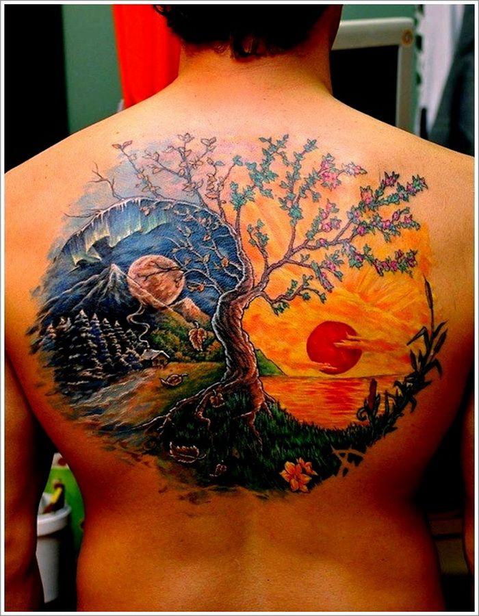 Sun and tree tattoo tattoomagz for Realistic tree tattoos