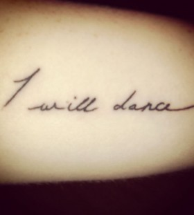 Words music style tattoo
