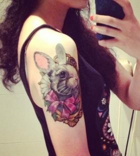 Amazing cute rabbit tattoo on arm