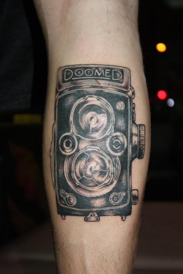 amazing old camera tattoo on leg. Black Bedroom Furniture Sets. Home Design Ideas