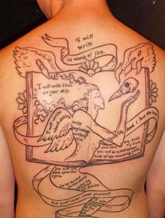 Amazing simple men's back book tattoo