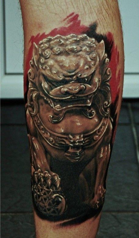bdc72a193 Angry egypt style dog tattoo on leg - TattooMagz