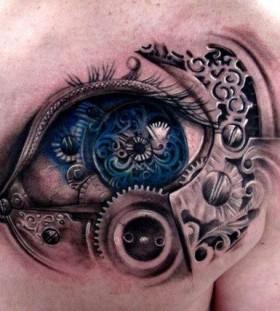 Biomechanical blue eye tattoo on shoulder