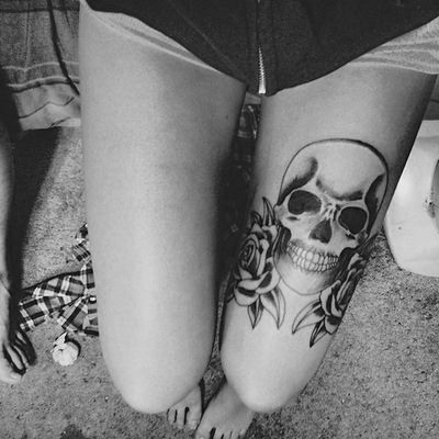 Black And White Rose And Skull Tattoos Tattoo on Leg Black Rose