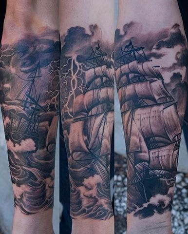 Black pretty ship tattoo on arm tattoomagz for Tattoo shops anderson indiana