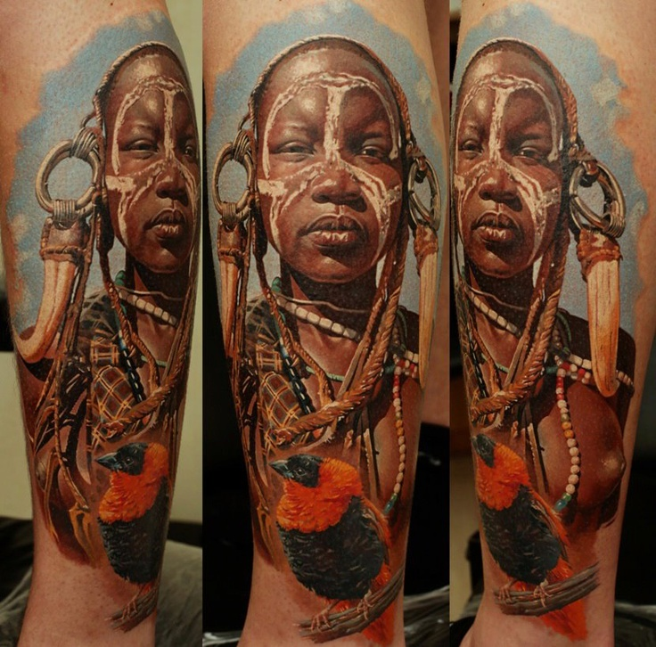 Black Women Tattoo By Dimitry Samohin
