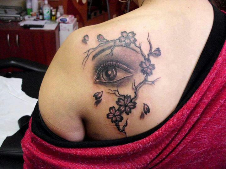 blossom cherry eye tattoo on shoulder tattoomagz. Black Bedroom Furniture Sets. Home Design Ideas