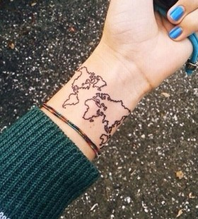 Women with lovely glass map tattoo on arm tattoomagz blue nails and map tattoo on arm gumiabroncs Images