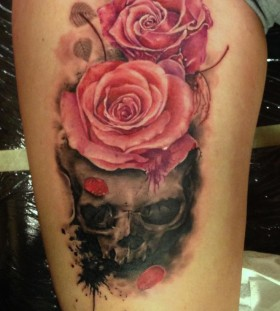 Cute pink rose tattoo on leg
