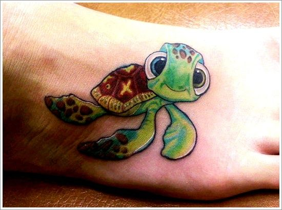 Cute turtle tattoo on foot tattoomagz for Little turtle tattoo