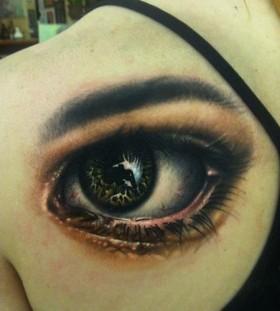 Deep women's eye tattoo on shoulder