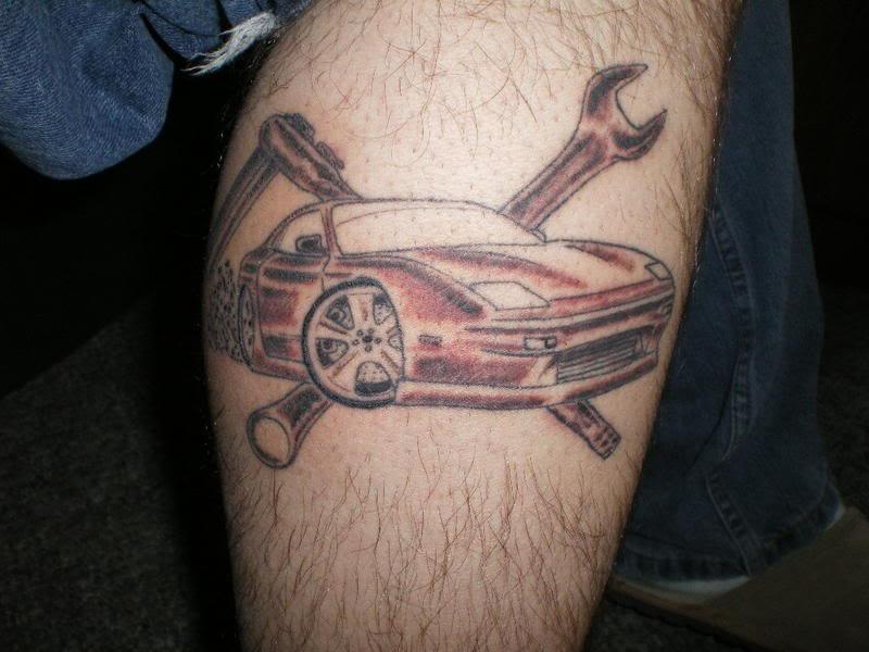 Wonderul Simple Car Tattoo On Leg Tattoomagz