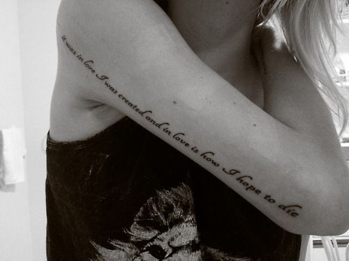 Full hand long quote love tattoo on arm