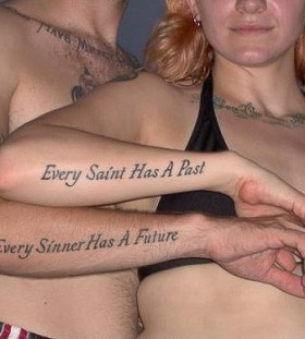 Funny couple quote tattoo on arm