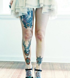 Girl dress and rose tattoo on leg