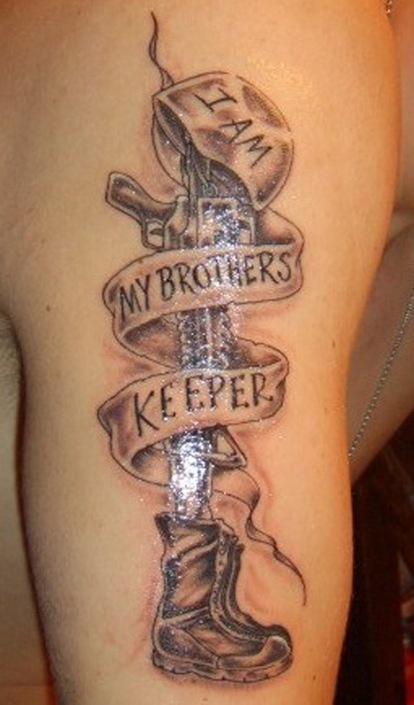 i am my brothers keeper soldier tattoo on arm tattoomagz. Black Bedroom Furniture Sets. Home Design Ideas