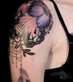 Lace And Purple Flower Black Shoulder Tattoo Tattoomagz