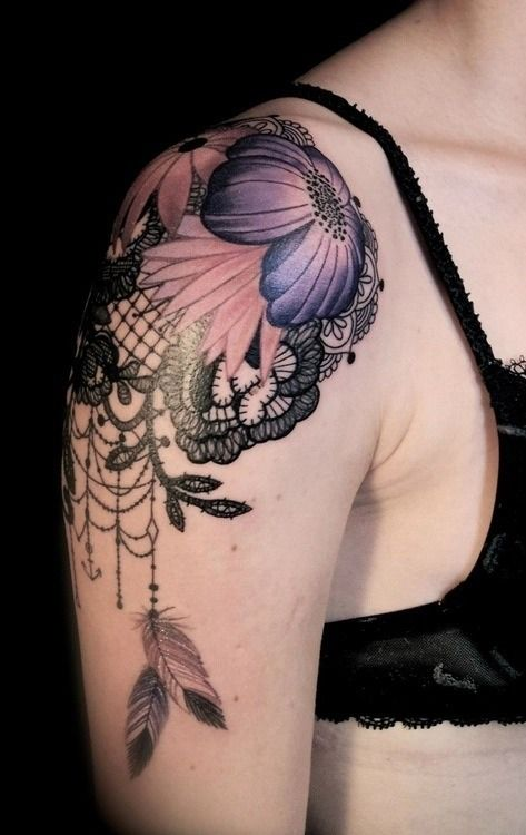 Lace And Purple Flower Black Shoulder Tattoo