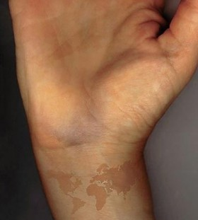 Women with lovely glass map tattoo on arm tattoomagz lovely cute map tattoo on arm gumiabroncs Images