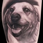 Lovely great dog tattoo on arm