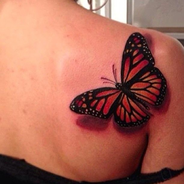 Pretty girl shoulder red butterfly tattooo for Cute butterfly tattoos