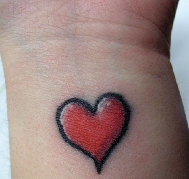 red cute heart tattoo. Black Bedroom Furniture Sets. Home Design Ideas