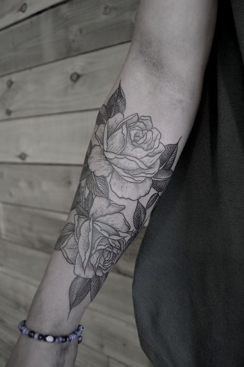 Tattoo Simple Rose: SImple Black And White Rose Tattoo On Arm