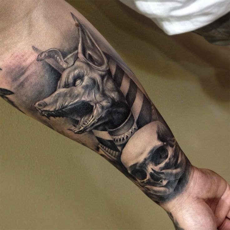 scary skull and dog tattoo on arm tattoomagz. Black Bedroom Furniture Sets. Home Design Ideas