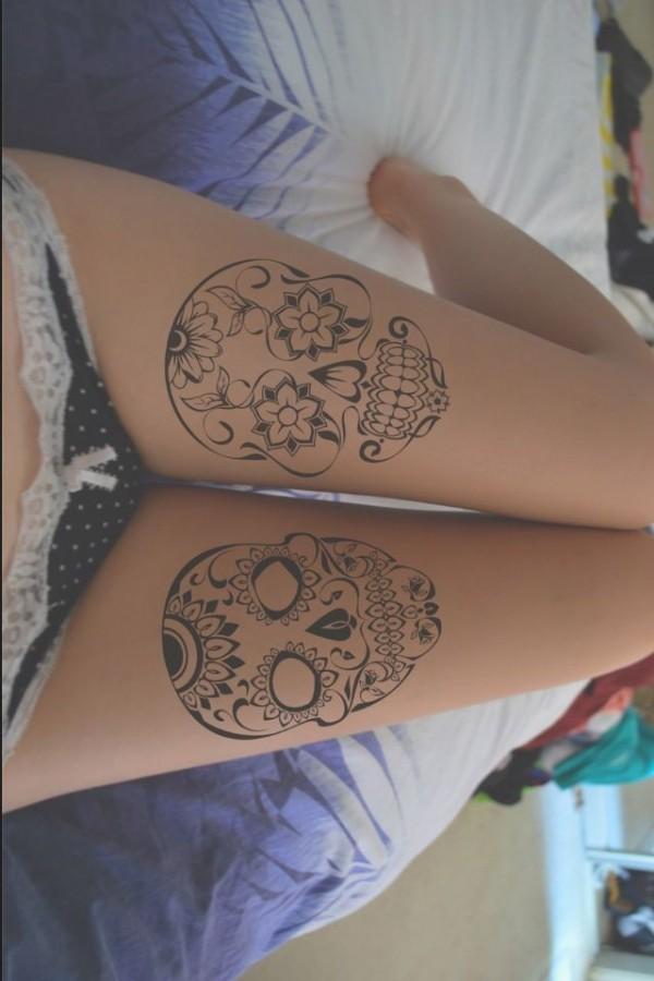 Simple Skull Tattoo On Leg Tattoomagz