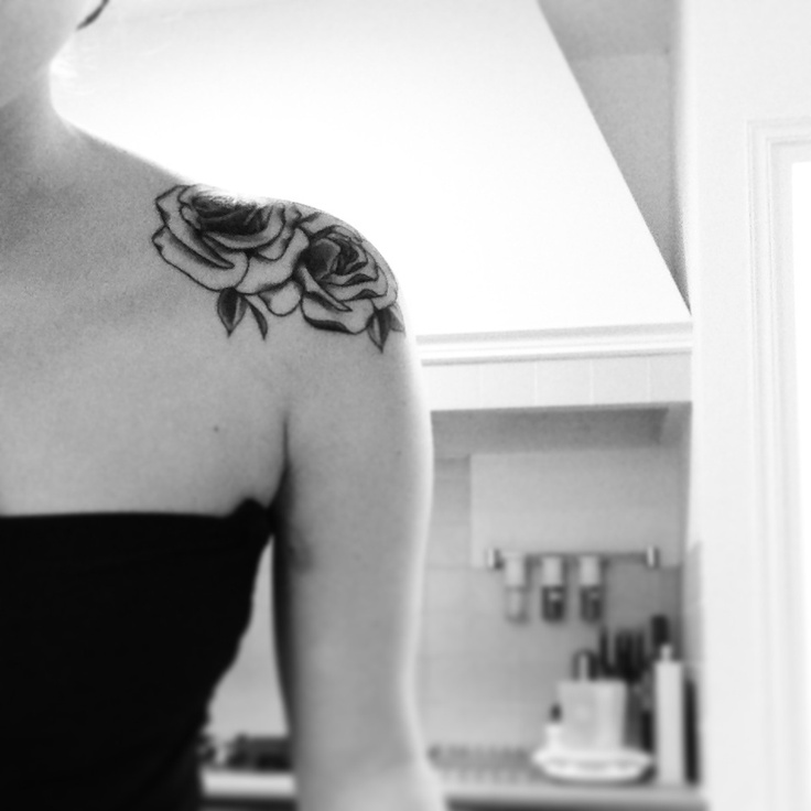 Small pretty black and white color rose tattoo on shoulder for Small black rose tattoo