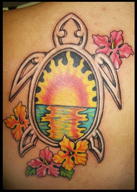 Sunset in turtle and flowers hawaiian style tattoo for Hawaiian style tattoos