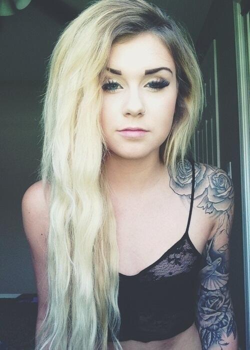 Unique Girl Tumblr Unique Blonde Girl Rose Tattoo