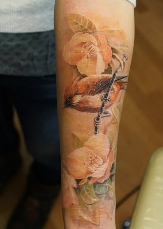 Yellow rose and brown bird tattoo on arm tattoomagz for Yellow rose tattoo